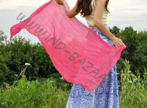 Индийский шёлковый шарф малинового цвета (СПб)