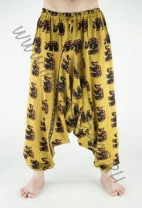 Мужские чёрные индийские штаны афгани со слонами (СПб)