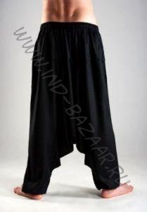 ЧЕРНЫЕ Мужские штаны алладины из вискозы, с узким поясом (СПб)