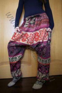 NEW! Утепленные этнические штаны Зуавы, розовые с красным (Москва)
