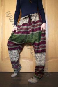 NEW! Утепленные этнические штаны Зуавы, серо-зелёные (Москва)