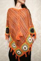 Теплое женское вязаное пончо оранжевого цвета. Интернет-магазин, Москва